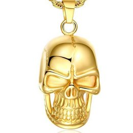 seiko necklace Australia - USpecial New Swiss precision steel Skull pendant 18K gold filled necklace Seiko quality Never change color free