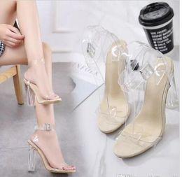 $enCountryForm.capitalKeyWord Australia - Women's Lucite Clear Dress Sandal Strappy Block Chunky Clear PVC High Heel Open Peep Toe Sandal