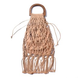 cotton tassels handmade UK - Handmade cotton woven wood handle womens handbags and purses hollow rope tassel beach female net straw tote evening clutch bags Y190606