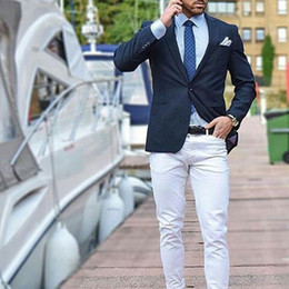 $enCountryForm.capitalKeyWord Australia - Men Suits for Wedding Groom Tuxedo Groomsmen Suits Navy Blue Man Blazer Jacket White Pants Costume Homme 2Piece Slim Fit Terno Masculino