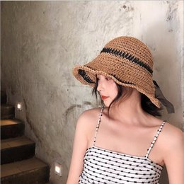 ElEgant straws online shopping - PLOERMIN WOMEN Summer Hats Sun Beach Panama Straw Hat Wide Brim Elegant Yarn Bow Sun Hat Leisure Foldable Holiday Cap Visors