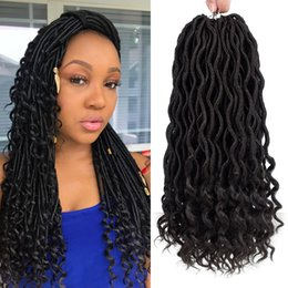 synthetic braiding hair free NZ - Free Shipping Full Head 6Pcs lot Goddess Locs Crochet Hair With Curly Ends 18inch Faux Locs Synthetic Braiding Hair Extensions