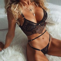 g strap lingerie NZ - 1 Pair Fashion Women Sexy Briefs Lingerie European and American Tight Lace Open Bras Bralettes Hollow G-String Underwear