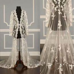 $enCountryForm.capitalKeyWord Australia - Custom Made Wedding Bridal Jackets Shawls Capes Long Sleeve Lace Applique Party Robe For Women Sweep Train Jacket Bolero