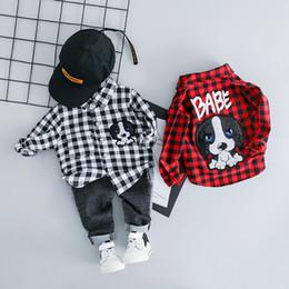 $enCountryForm.capitalKeyWord Australia - Hylkidhuose Infant Clothes Suits 2019 Spring Baby Girls Boys Clothing Sets Lapel Plaid Shirt Jeans Cartoon Kids Children Costume MX190803