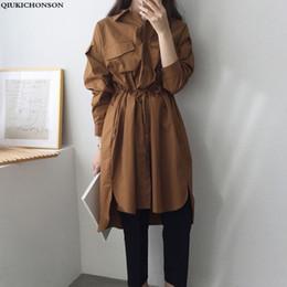 Double Shirt Designs Australia - Korean Lazy Wind Cotton Long Shirts Women Double Pockets Design 2019 Spring Autumn Lace Up Waist Casual Long Sleeve Blouse