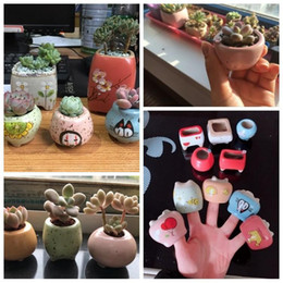 mini ceramic flower pots NZ - Creative Mini Pots Ceramic Planter Cute Flower Pots Mini Finger Succulents Planters For Home Office Decoration