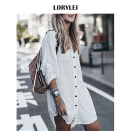 white long sleeve beach shirt NZ - Women Summer Fashion Beach Tops Swimsuit Cover Up Plus Size Long Sleeve White Cotton Pocket Button Front Open Shirt Dress N648 Y190727