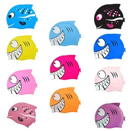 $enCountryForm.capitalKeyWord Australia - Kids Gril Boy swimming cap cartoon fish silicone waterproof protection ear shark swimming cap children\'s hat 11 colors