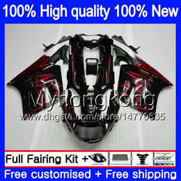 blk red NZ - Body For KAWASAKI ZZR 1100 CC ZX-11R 1990 1991 1992 205MY.0 ZX 11R ZZR1100 ZX11 R ZZR-1100 ZX-11 R ZX11R 90 91 92 Fairing kit Red flames blk