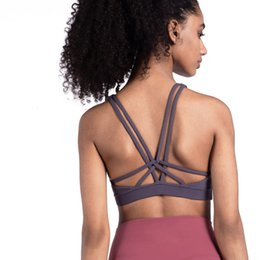 Wholesale fixed s for sale – custom COLORVALUE Cross Strappy Yoga Bra Fixed Shoulder Strap Padded Push Up Bra Beauty Back High Impact Sports Cropped Top Fitness