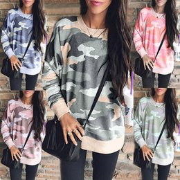 hoodie camouflage shirts NZ - Women Printed Hoodies New Model Long Sleeve Crew Neck Cotton Camouflage Loose Sweatshirt Casual shirts 5XL Pullover