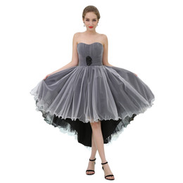 $enCountryForm.capitalKeyWord Australia - MB050 Strapless 2 Colors Black White High Low Prom Dresses 2019 Tulle Party Dresses Juniors Beaded Waist Midi Sex Prom Dress