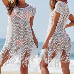 white lace short suit Australia - White Lace Tassel Swimwear Summer Sexy Bikini Pareo Beach Ups Beachwear Women Dress Bathing Suit Cover Up #q560 Q190521