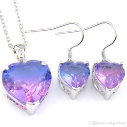 unique silver jewelry Canada - Luckyshine Wedding Jewelry Sets Unique Bi Colored Tourmaline Heart Crystal Zircon Silver Chain Earring Pendants Necklace Jewelry Sets