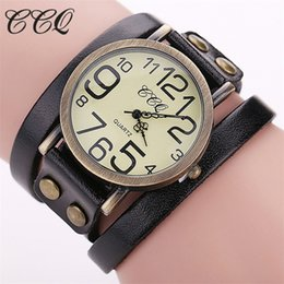 Discount vintage brand watch - Hot Fashion Women Genuine Vintage Leather Bracelet Watch Casual Female Quartz Watch Clock CCQ Brand Dropshipping Clock
