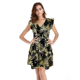 $enCountryForm.capitalKeyWord UK - Deep V-neck A Pendulum Dress Leaf Sequin Dress Fashion Dress Summer Sexy Dresses In Europe and America