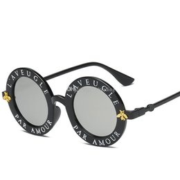 Kids Summer Sunglasses UK - Children Sunglasses 2019 Summer Fashion personality letter bee glasses Decorative Beach Sunshade products kids Anti-UV glasses 7 colorsC6377