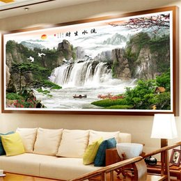 $enCountryForm.capitalKeyWord NZ - wholesale Diamond Embroidery Chinese Landscape Painting 5D DIY Diamond Painting Full Square Round Picture Of Rhinestone Decor Home