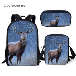 $enCountryForm.capitalKeyWord NZ - ELVISWORDS Fashion Kids Backpack Little Deer Pattern School Bags Kawaii Animal Students 3PCs Set Backpack Messenger Bag Pen Bags