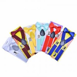 Toddlers Ties online shopping - Baby Braces Clip High Elastic Bow Ties Set Baby Boys Toddler Wedding Matching Braces Suspenders Bowknot Kids Gentle Bow Ties Clip LJJV218