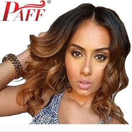 tone hair color lace fronts Australia - PAFF short wavy lace front wig ombre color glueless Virgin hair Brazilian two tone #1B 30 color human hair wig baby hair