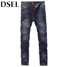 dsel jeans NZ - European American Street Fashion Men Jeans Orange Pocket Stripe Jeans Mens Pants DSEL Brand Buttons Distressed Ripped Jeans
