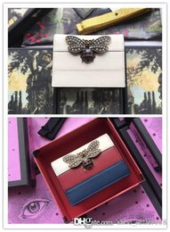 $enCountryForm.capitalKeyWord Australia - Genuine Leather Women Designer Wallet Queen Margaret leather card case glass pearls and multicolor crystal Bee flap purse with box dust bag