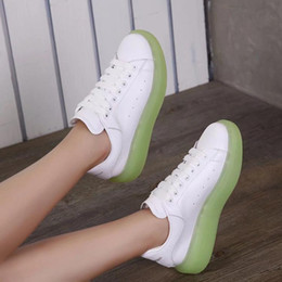 thick sole sneakers NZ - new style Green muffin sole night-light shoes Lady's head cow leather thick sole night-light sneakers woman