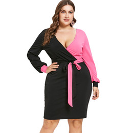 $enCountryForm.capitalKeyWord UK - Wipalo Plus Size Two Tone Color Blocking Bodycon Surplice Dress Women V Neck Long Sleeves Knee Length Tied Belt Dress Vestidos