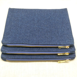 $enCountryForm.capitalKeyWord Australia - 10pcs lot blank 14oz thick denim makeup bag with gold metal zip true red lining plain denim cosmetic bag for DIY paint directly from factory