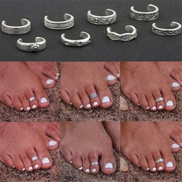 Wholesale 8Pcs Elegant Women 925 Sterling Silver Toe Ring Foot Adjustable Beach Jewelry Beach fashion show Retro Style Body Fashion Jewelry