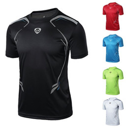 Wholesale Stretch T Shirts Men Australia - Men Gym Sport Running T Shirt Fitness Muscle Quick Dry Stretch Top Tee Clothes