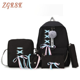 Discount school bags set for girls - Fashion Backpack Bag Woman High Middle School Students Schoolbags Female Campus Back Pack Set Backpacks Bagpack For Girl
