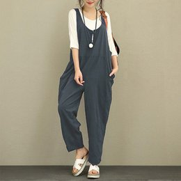 $enCountryForm.capitalKeyWord Australia - Summer Loose Sleeveless O Neck Women Jumpsuit 2019 Solid Casual Sweet Lady Playsuit Pockets Female Fashion Overalls Body Suits