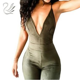Back Out Jumpsuit Rompers Australia - Women's Spaghetti Strap Back Openwork Skinny Jumpsuits Outfits Faux Suede Full Length Rompers Bodycon Jumpsuit Bodysuit Overalls Y19051501