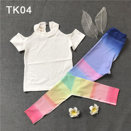 White Workout clothes online shopping - Kids Dance Costume Summer Cartoon Printing Girl Yoga Pants Set Sweat Children Workout Clothes Short Sleeve Daringly Pants