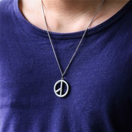 $enCountryForm.capitalKeyWord NZ - New Arrival Hip Hop Jewelry Mens Necklace Fashion Peace Pendant Necklace Silver Color Stainless Steel Chain Necklaces For Women