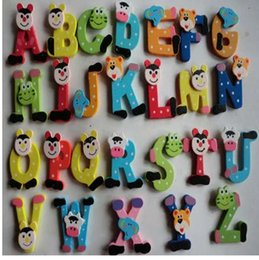Kids Alphabet Magnets Australia - 1 Set 26pcs X mas Gift Cartoon Animal Tiger Cow Alphabet A-Z Fridge Magnets for Child Early Educational Learn Cute Kid Baby Toy