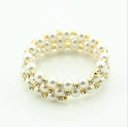 wholesale exaggerated bracelet 2019 - New European and American Fashion Exaggerated Hand Jewelry Women's Water Diamond Pearl Bracelet Multi-row Hand Ring