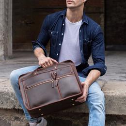 Genuine Leather Handles Australia - GZCZ 2019 New Man Vintage Genuine Leather briefcase Top-Handle Bag Man Tote Handbag High Quality Male Business travel Bag maleta #754902