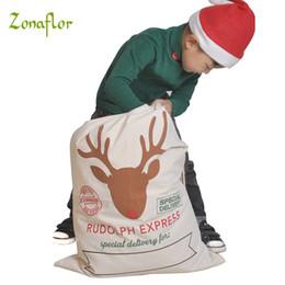 $enCountryForm.capitalKeyWord Australia - ecoration rustic Zonaflor 1PC Gift Bag Christmas 11 Styles Red Drawstring Canvas Santa Sack Rustic Vintage Christmas stocking bags Decora...