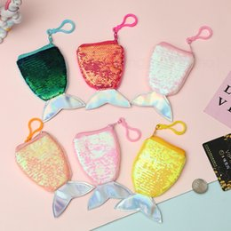 Discount coin holder pendant - 6styles Fish tail shaped coin bag laser mermaid sequin wallet change money key holder purse pendant girl children christ