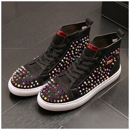 red high top hip hop shoes Australia - New popular Men colorful Rivet red black punk Hip-hop Casual Shoes sneaker Male high-tops thick bottom loafers