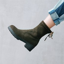 $enCountryForm.capitalKeyWord Australia - YMECHIC Autumn Casual Chunky Block Medium Heel Booties 2018 Woman Black Lace Up Motorcycle Sock Ankle Boots for Women Plus Size