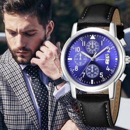 Geneva Watch Bands Men Australia - Geneva Luxury Branad New Fashion Men's Watch Leather Band Date Analog Quartz Diamond Men Clock Wrist Watches orologio uomo