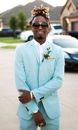 2019 moda menta verde uomo abiti slim fit due pezzi (giacca smoking + pantaloni) smoking dello sposo vestito da promenade costumi del partito custom made in Offerta