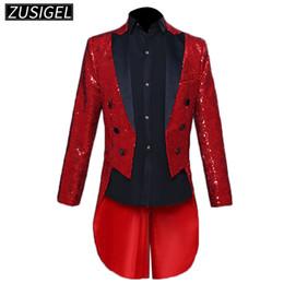 Discount dinner coat men - ZUSIGEL Men's Sequin Tuxedo Jacket Tails Slim Fit Tailcoat Dress Coat Swallowtail Dinner Party Wedding Blazer Suit