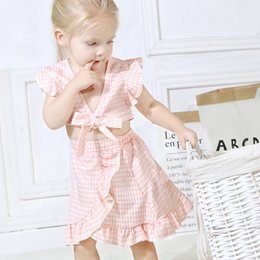 Old Suits Australia - 3-8 Years Old Little Girls Plaid Skirt Sets Summer Outfit Bow Sleeveless Top + Skirt European and American Children's Clothing Suit