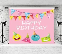 Cartoon Baby Background Australia - Dream 7x5ft Happy Birthday Photography Backdrop Pink Cartoon Photo Background for Newborn Baby Shower Shoot Backdrop Colorful Flag Studio